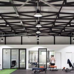 interior de gimnasio ejecutado con estructura metálica atornillada