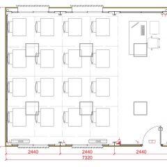 aulas modulares 45m2 altura especial plano